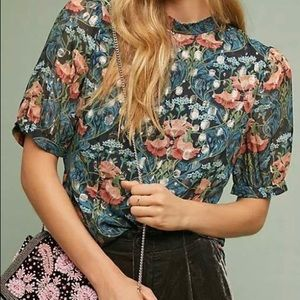Anthropologie Meadow Rue floral & gold top
